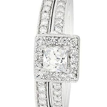 CERTIFIED 0.66 Carats Sterling Silver 2 Pieces Princess Cut Cubic Zirconia Bridal Engagement Wedding Ring Set