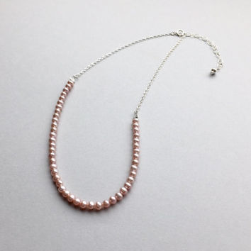 "Pink Pearl Choker, Blush Wedding Jewelry, Adjustable Necklace 14.5""-16.5"", Rose Gold Bridal Jewelry, Classic Short Necklace, Gifts for Her"