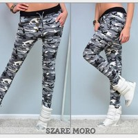 2017 Sweat Pants Women Camouflage leggings Fitness Wear capris pants for women stripes sexy Mujer femme Women summer pencil Pants