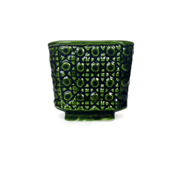 Small Green Planter, Mid Century Ceramic Planter, Cube, Square, Emerald Green Decor