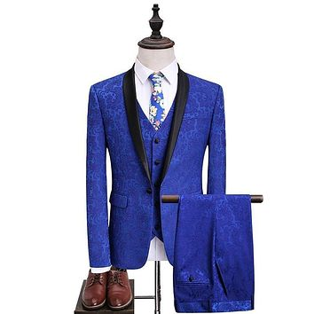 Men Royal Blue Floral Suits with Pants Shawl Collar Prom Groom Wedding Dress Suits