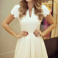 White Scallop Pleated Skater Dress