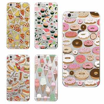 Pizza Donuts Sushi Hotdog Ice Cream  French bulldog Phone Case Cover fundas For iphone 7Plus 7 6 6S 6Plus 8 8plus X samsung
