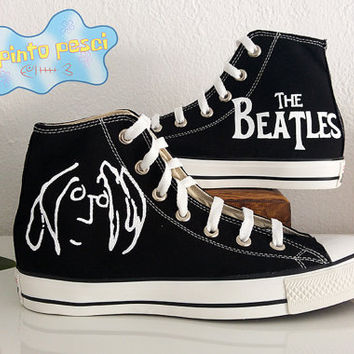 The Beatles John Lennon Hand Painted Custom Shoes