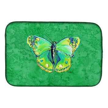 Butterfly Green on Green Dish Drying Mat 8863DDM