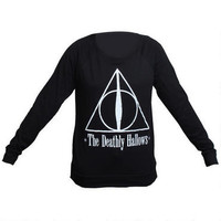 Harry Potter Deathly Hallows Symbol Long Sleeve Black T-Shirt |