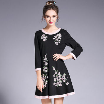 Floral Embroidery Black Dress Plus Size Women Contrast Spring Flower A Line Mini Dresses l to 5xl