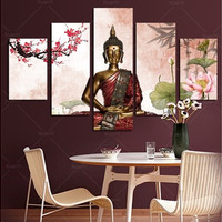 5 Panel Abstract Printed Buddha Painting Canvas Wall Art Home Decor Buda Cuadros Picture For Living Room Unframed BU007