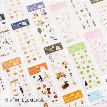 New PVC green plants flowers cartoon animal learning tool life accessories stickers DIY Decoration Planner Diary index stickers