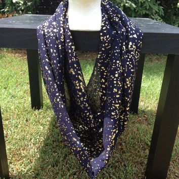 Navy and Gold Glitter Infinity Scarf