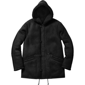 Supreme: Supreme®/Schott® Shearling Hooded Coat - Black