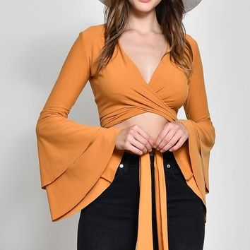 Tie Front Ruffle Sleeve Crop Top