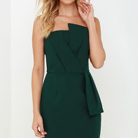 Sweet and Sassy Dark Green Strapless Dress