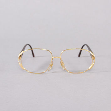 70s Authentic DIOR Oversized EYEGLASSES / 1970s Gold Wire Rhinestone Glasses Frames