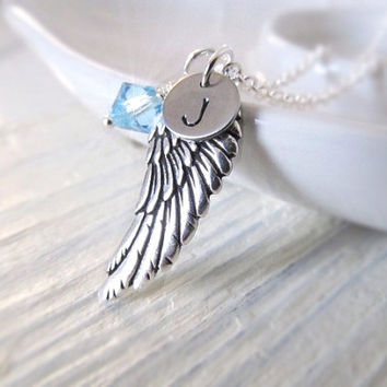 Personalized Necklace, Silver Wing with Birthstone and Initial Charms, Birthstone Necklace, Angel Wing, Engraved Jewelry