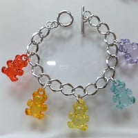 Rainbow Teddy Gummy Bear Charm Bracelet Retro by ShelleesShinies