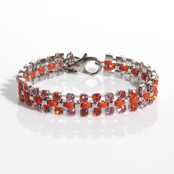 "Vivienne Westwood 6.5"" Disco Bracelet in Red & Silver"