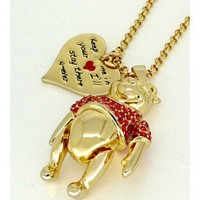 Disney Couture Gold & Crystal Winnie the Pooh Bear Necklace  at Zentosa