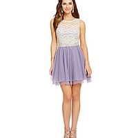 Teeze Me Illusion Lace Pleated Party Dress - Natural/Lilac