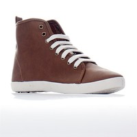 Breckelles Classic Rock Cooper-12 Lace Up Faux Leather High Top Sneakers - Tan