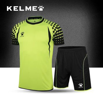KELME Survetement football 2017 soccer jerseys men custom football jerseys short Sleeve goalkeeper uniforms football set suit