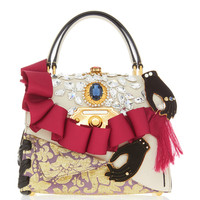 Ruffle Embellished Top Handle Leather Bag | Moda Operandi