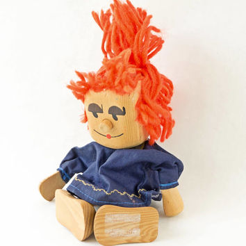 Vintage Wooden Doll,Red Hair,Hand Made,Painted Face