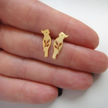 Fashion Minimalist Animal Bird Earrings Cute Small Gold Silver Parrot Stud Earrings For Women Girls Kids Party Jewelry Gifts