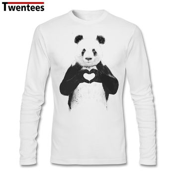 Men Autumn Printing Graphic Long Sleeve Custom Homme Base T Shirts Love Heart Chinese Panda T-shirts Men Father's Day Gift