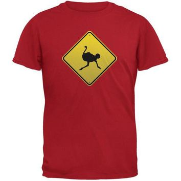 DCCKJY1 Ostrich Crossing Sign Red Adult T-Shirt