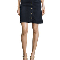 Columbier Button-Front Jean Skirt, You're Gonna Miss Me (Blue), Size: