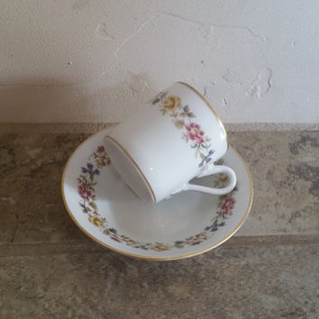 Richard Ginori Italy Sorrento Demitasse and Saucer Flower Printed