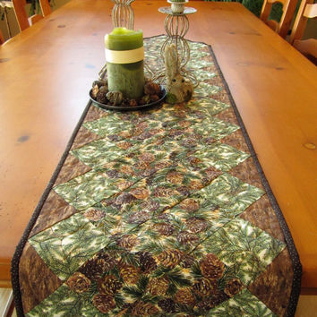 Quilted Table Runner Pine Cones Handmade Mountain Cabin Home Decor Table Linen