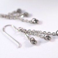 Stainless steel dangle earrings, gun metal dangle earrings, stainless steel drop earrings, chain earrings.
