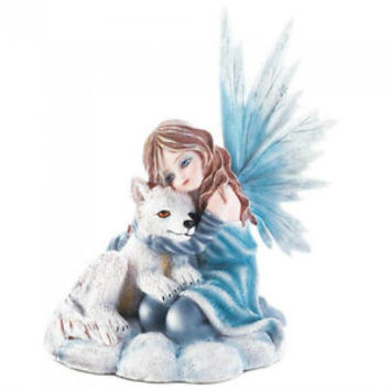 Winter Fairy and White Fox Figurine Mythical Fantasy Fairies Gifts