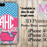 Monogram iPhone Case Personalized Phone Case Vineyard Vines Inspired Monogrammed iPhone Case, Iphone 4S, Iphone 4 iPhone 5S, iPhone 5C #2255