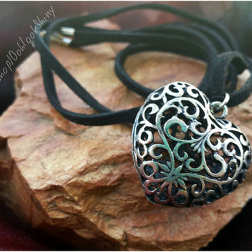 Silver Heart Pendant Leather Cord Long Necklace