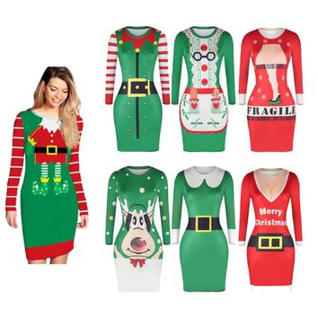 UGLY XMAS CHRISTMAS SWEATER Santa Elf Women Slim Jumper Pullover Long Tops Dress