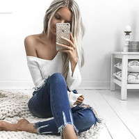 Loose Sexy Jumper Knitwear Crop Tops V-Neck Long Sleeve Pullover FREE SHIPPING