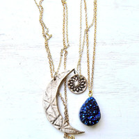 Moon Bronze Layering Necklaces- Cobalt & Gold Druzy