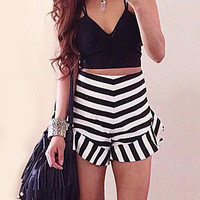 Black and White Tank Top and Shorts Set