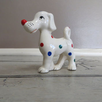 Ceramic Dog Spotted Dog Kitsch Dog Polka Dot Dog Red Green Blue Dog Figurine Funky Decor
