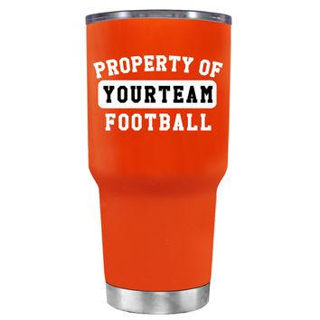 TREK Property of Football Personalized on Vermilion 30 oz Tumbler Cup