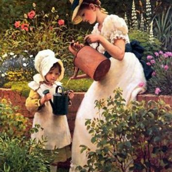 The Little Girl Gardener Watering Cute Girl Embroidery Needlework 14CT Unprinted DMC DIY Cross Stitch Kits Handmade Arts Decor