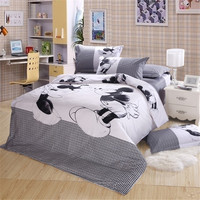 Black and white Mickey Mouse 4pcs Bedding Set Full/Queen/King Size Sheet set/Bed linen/Bedclothes/Duvet Cover set,Free Shipping