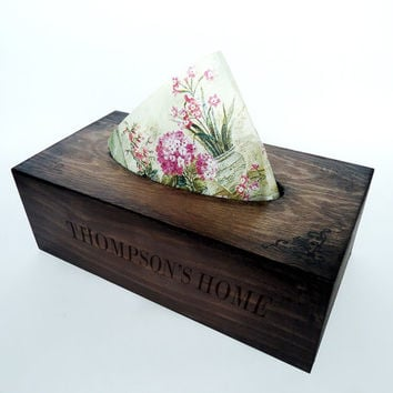 Personolized Wooden Tissue Box Cover / Tissue holder / Napkin box / Kitchen Home Decoration by Elena Joliefleur