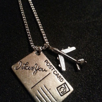 The Fault In Our Stars Inspired Charm Necklace - Postcard + Airplanes