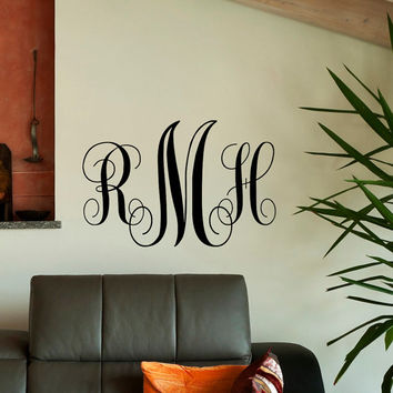 Monogram Wall Decal Personalized Initial - Family Wall Decals Art Home Decor Design Interior Living Room or Bedroom M018