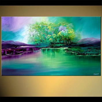 "Landscape Print on Canvas Turquoise Green Purple Trees Lake Reflection Embellished and Ready to Hang, Fine Art by Osnat - 40""x24"""