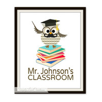 Owl Teachers Print // Teacher's Name Print // School Gift Classroom // Teacher Appreciation Gift